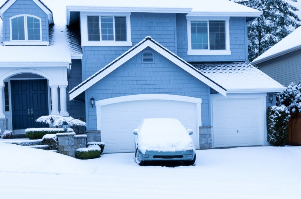 Home during winter snow season