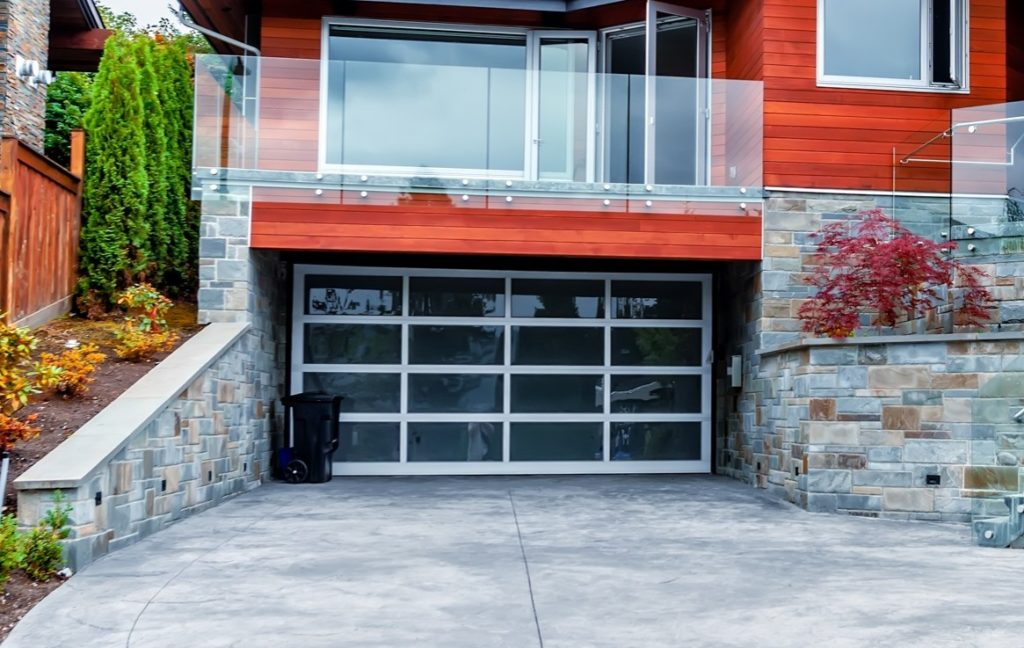 Glass garage door installed on a Vancouver WA home