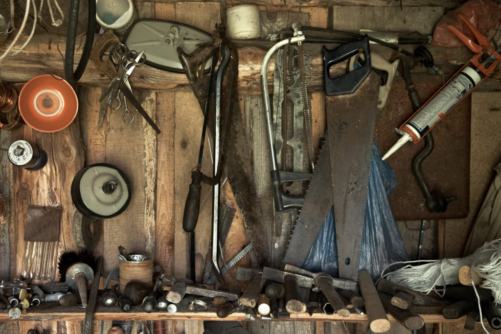 Tools hanging in a garage