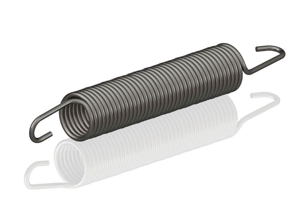 An illustration of a torsion spring is seen on a white background.